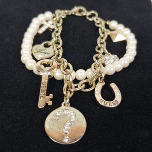 Guess Double Strand Pearl Charm Bracelet Crystals